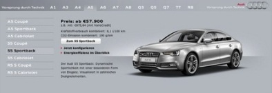 Menu web de Audi tienda online, usabilidad web