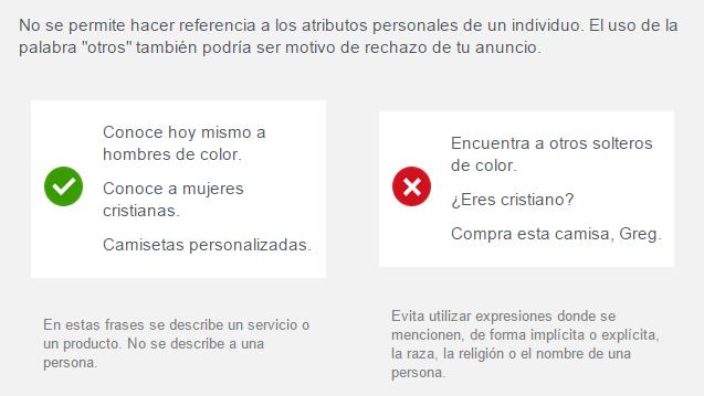 atributos personales prohibido facebook