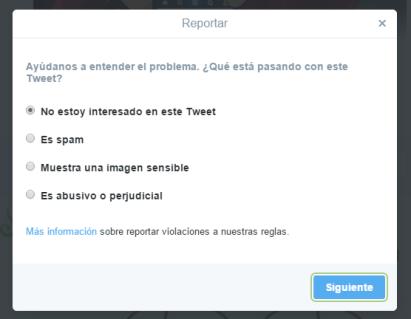 denunciar tweet